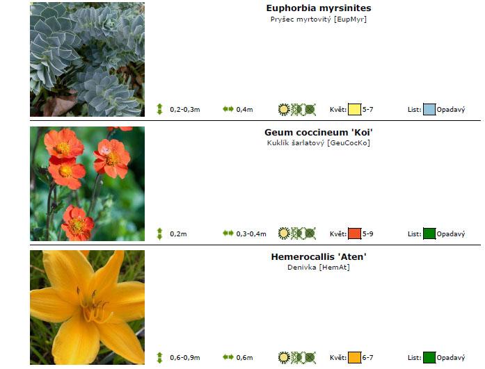 Zahrada seznam rostlin